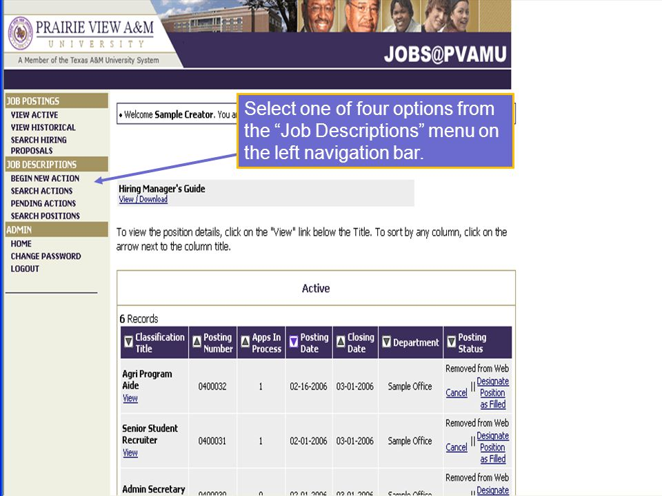 Select one of four options from the Job Descriptions menu on the left navigation bar.