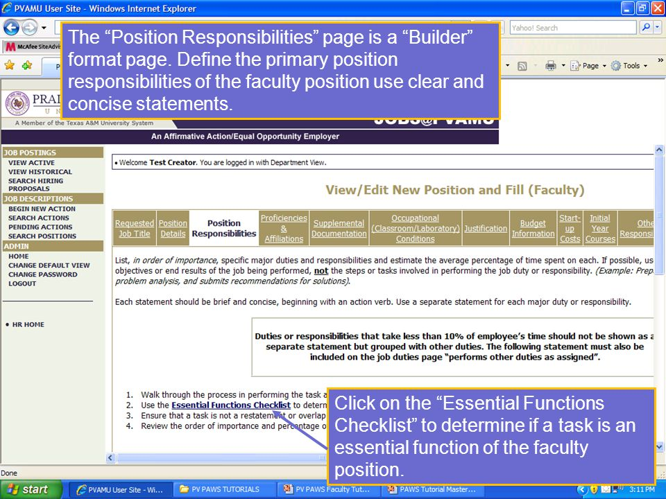 The Position Responsibilities page is a Builder format page.