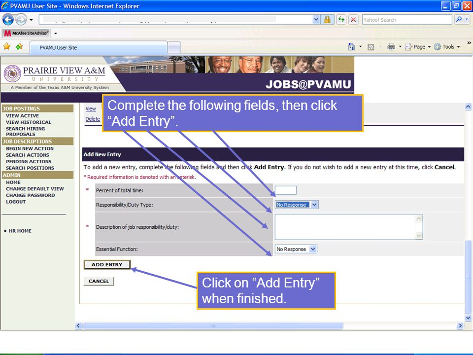 Complete the following fields, then click Add Entry . Click on Add Entry when finished.