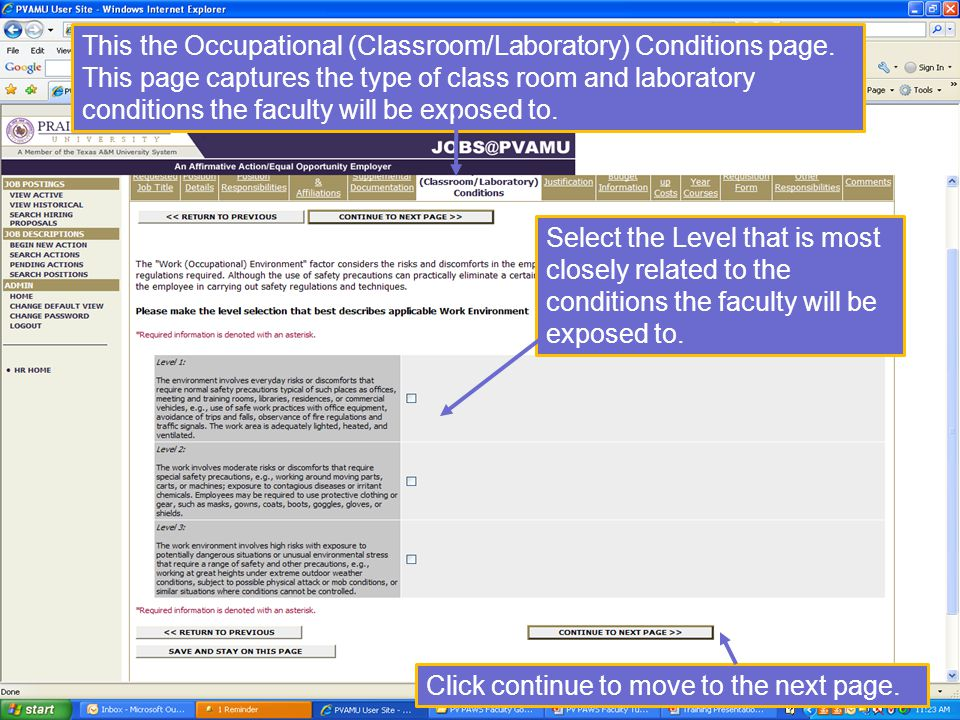 This the Occupational (Classroom/Laboratory) Conditions page.