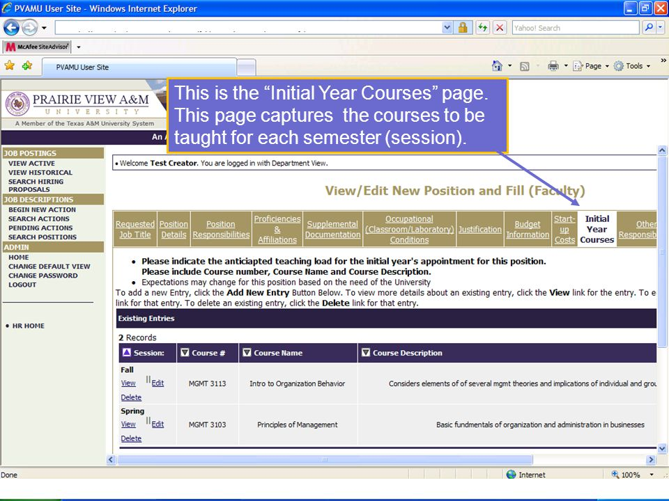 This is the Initial Year Courses page.
