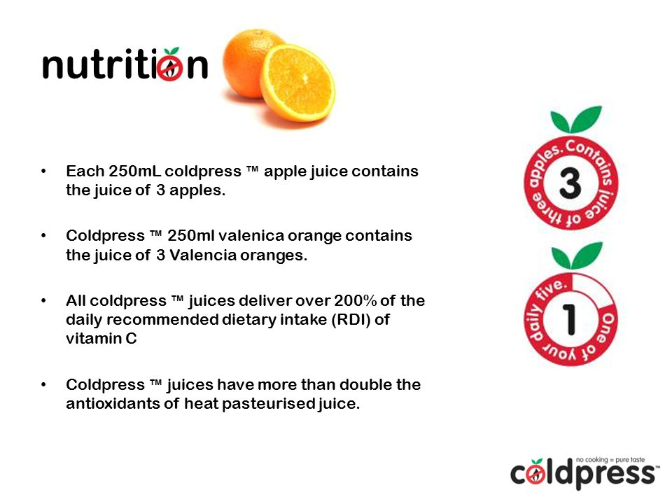 Each 250mL coldpress ™ apple juice contains the juice of 3 apples.