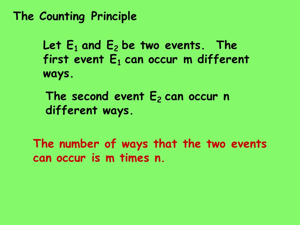 The Counting Principle Let E 1 and E 2 be two events.