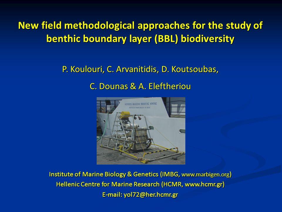 New field methodological approaches for the study of benthic boundary layer (BBL) biodiversity P. Koulouri, C. Arvanitidis, D. Koutsoubas, C. Dounas &