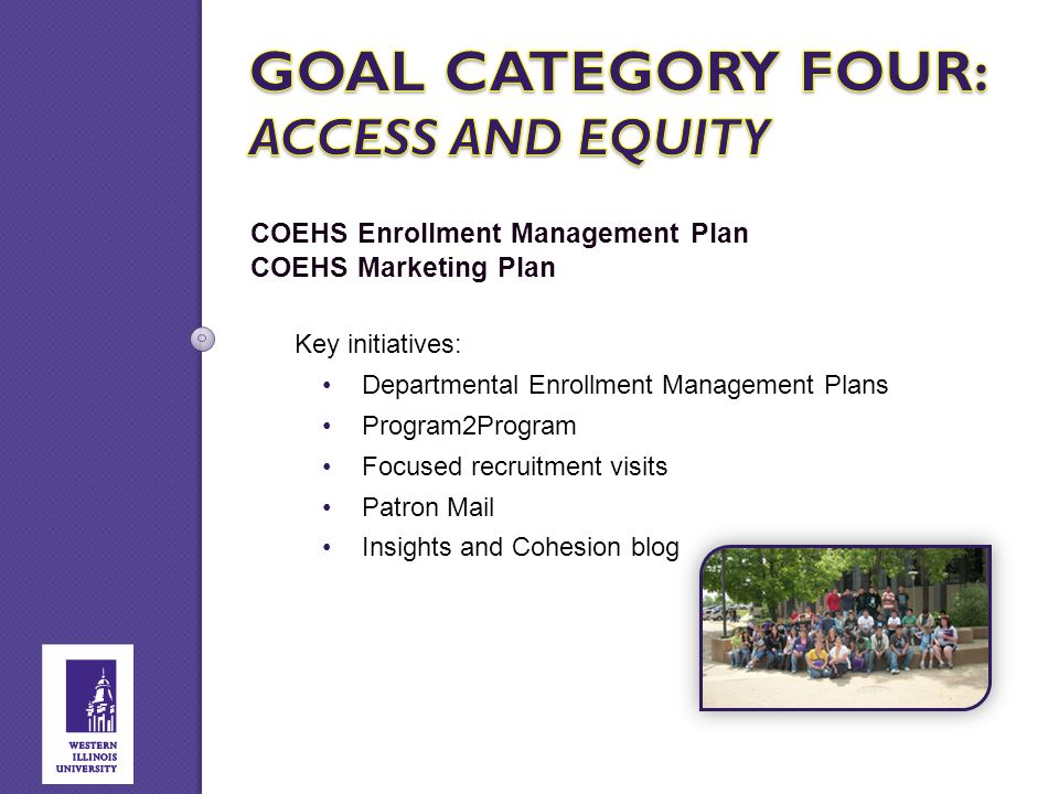 COEHS Enrollment Management Plan COEHS Marketing Plan Key initiatives: Departmental Enrollment Management Plans Program2Program Focused recruitment vi