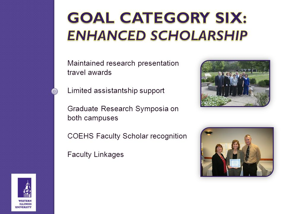 Maintained research presentation travel awards Limited assistantship support Graduate Research Symposia on both campuses COEHS Faculty Scholar recogni