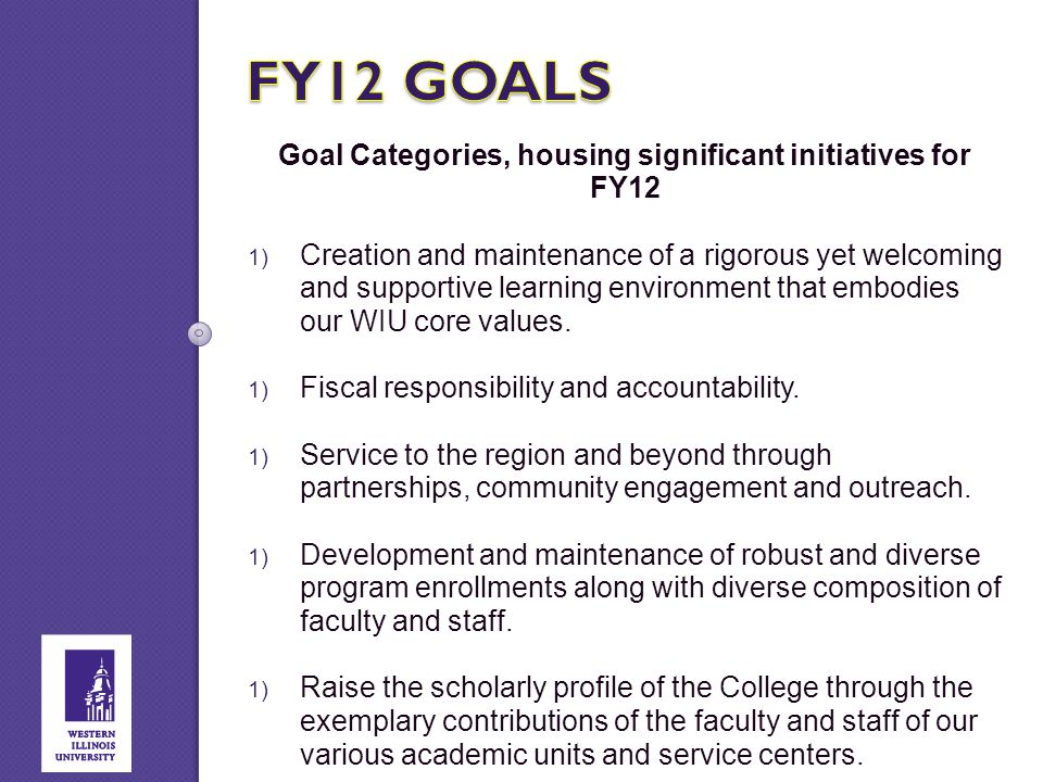 Goal Categories, housing significant initiatives for FY12  Creation and maintenance of a rigorous yet welcoming and supportive learning environment