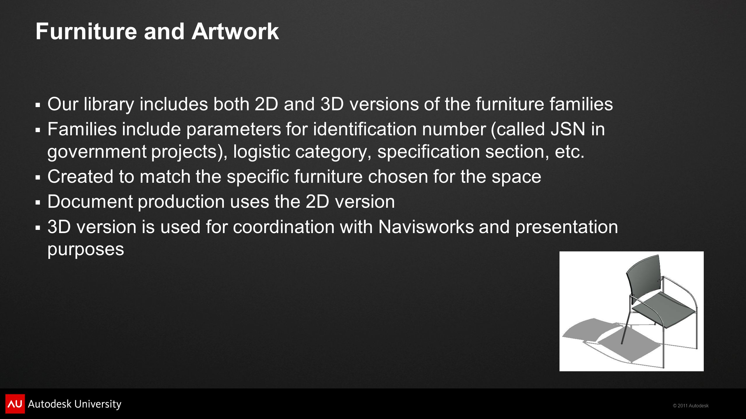 © 2011 Autodesk Furniture and Artwork  Our library includes both 2D and 3D versions of the furniture families  Families include parameters for ident