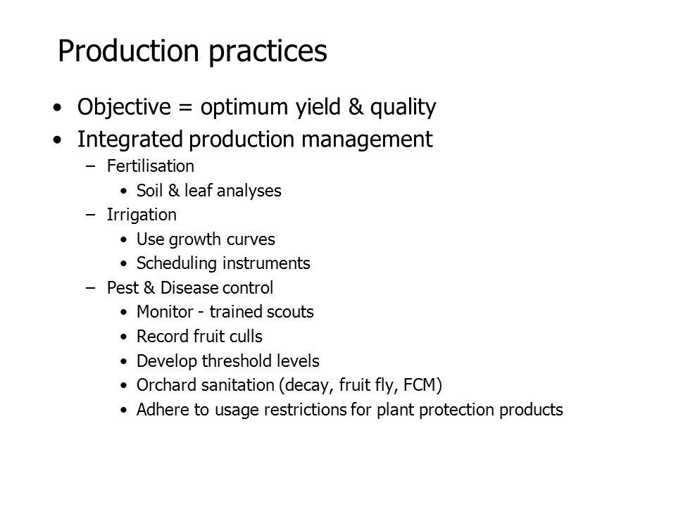 Production practices Objective = optimum yield & quality Integrated production management –Fertilisation Soil & leaf analyses –Irrigation Use growth c