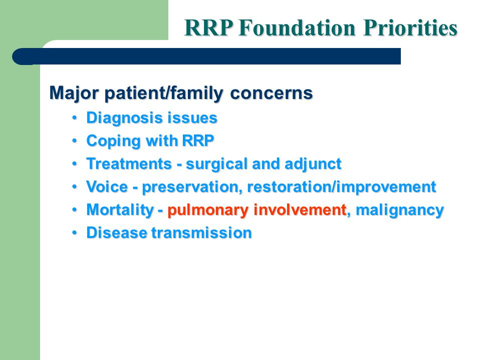 Major patient/family concerns Diagnosis issuesDiagnosis issues Coping with RRPCoping with RRP Treatments - surgical and adjunctTreatments - surgical and adjunct Voice - preservation, restoration/improvementVoice - preservation, restoration/improvement Mortality - pulmonary involvement, malignancyMortality - pulmonary involvement, malignancy Disease transmissionDisease transmission RRP Foundation Priorities
