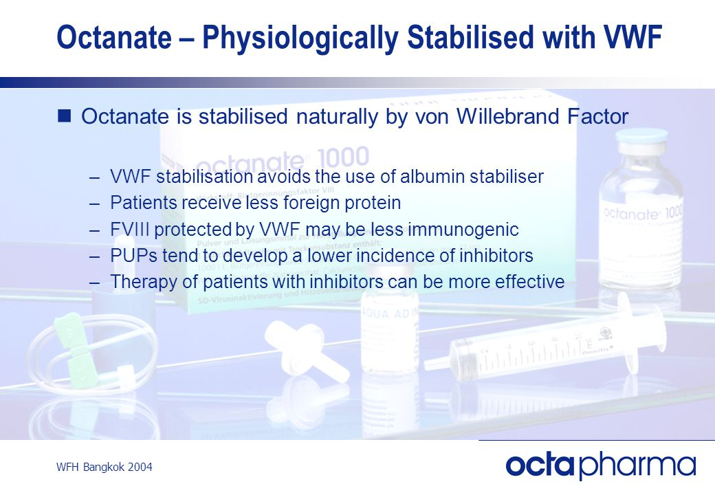 WFH Bangkok 2004 Octanate is stabilised naturally by von Willebrand Factor –VWF stabilisation avoids the use of albumin stabiliser –Patients receive l