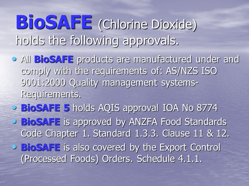 BioSAFE Stabilised Chlorine Dioxide Stable product that is a precursor for the formation of chlorine dioxide and chlorous acid. Stable product that is