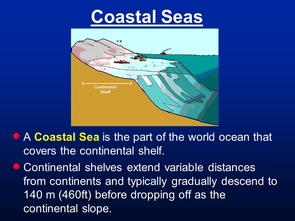 Coastal Seas  A Coastal Sea is the part of the world ocean that covers the continental shelf.