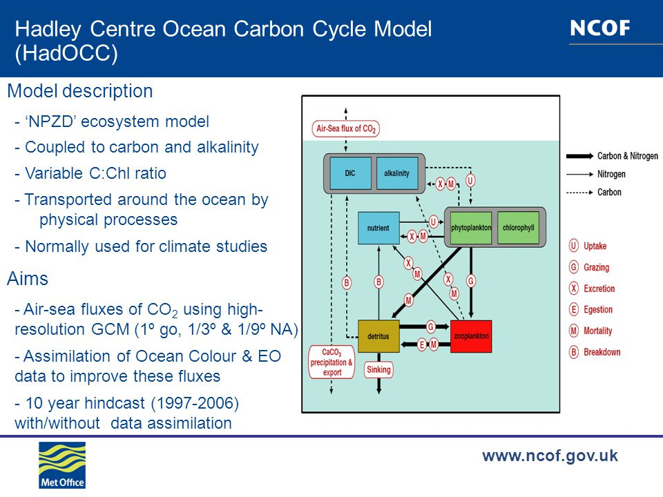 www.ncof.gov.uk Hadley Centre Ocean Carbon Cycle Model (HadOCC) Model description - Variable C:Chl ratio - Coupled to carbon and alkalinity - Normally used for climate studies - Transported around the ocean by physical processes - 'NPZD' ecosystem model Aims - Air-sea fluxes of CO 2 using high- resolution GCM (1º go, 1/3º & 1/9º NA) - Assimilation of Ocean Colour & EO data to improve these fluxes - 10 year hindcast (1997-2006) with/without data assimilation
