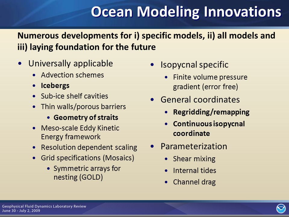 3 Numerous developments for i) specific models, ii) all models and iii) laying foundation for the future Universally applicable Advection schemes Icebergs Sub-ice shelf cavities Thin walls/porous barriers Geometry of straits Meso-scale Eddy Kinetic Energy framework Resolution dependent scaling Grid specifications (Mosaics) Symmetric arrays for nesting (GOLD) Isopycnal specific Finite volume pressure gradient (error free) General coordinates Regridding/remapping Continuous isopycnal coordinate Parameterization Shear mixing Internal tides Channel drag Ocean Modeling Innovations