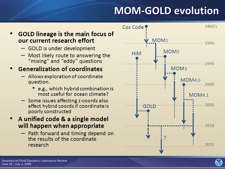 "7 MOM-GOLD evolution GOLD lineage is the main focus of our current research effort – GOLD is under development – Most likely route to answering the ""m"