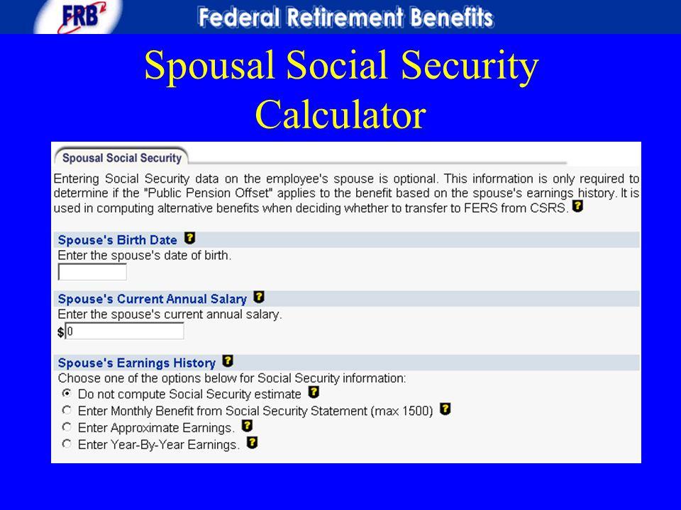 Spousal Social Security Calculator