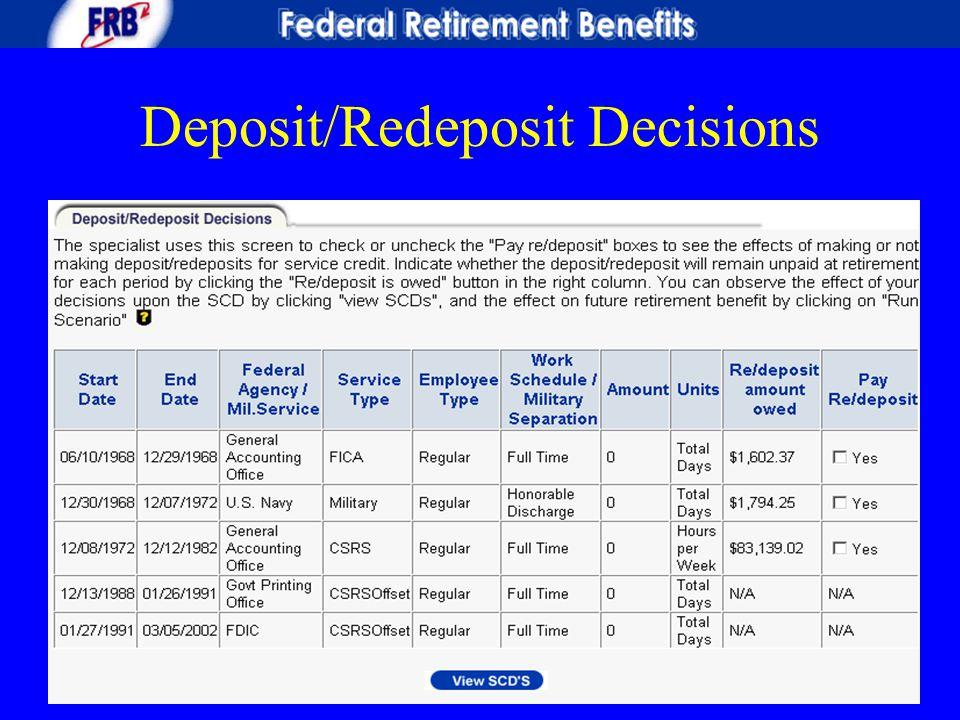 Deposit/Redeposit Decisions