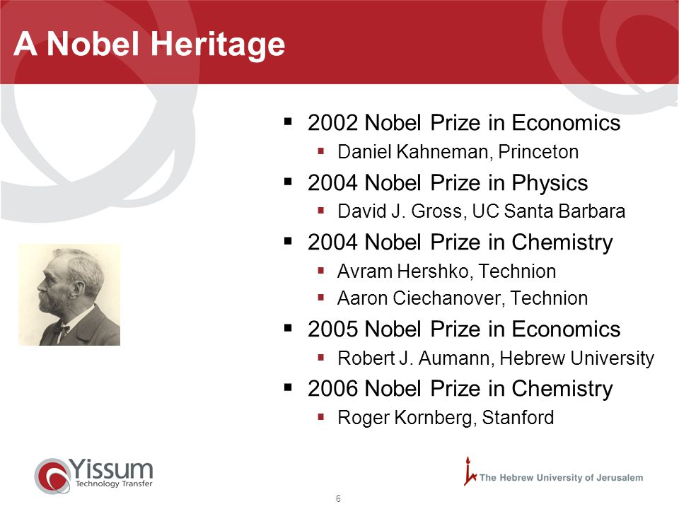6 A Nobel Heritage  2002 Nobel Prize in Economics  Daniel Kahneman, Princeton  2004 Nobel Prize in Physics  David J. Gross, UC Santa Barbara  200