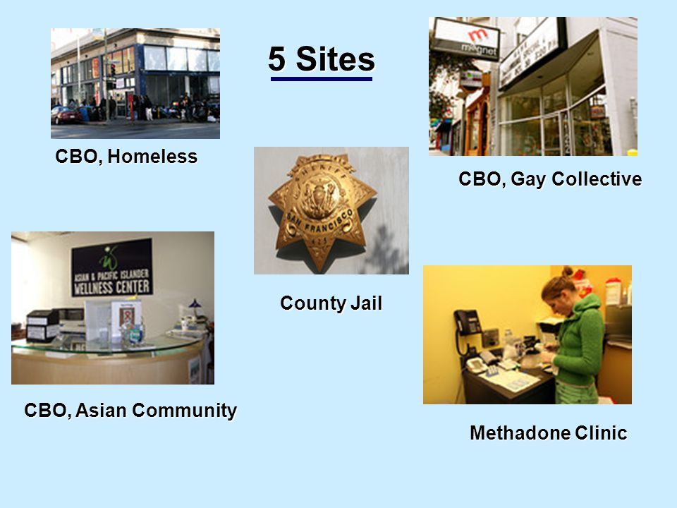 CBO, Homeless CBO, Homeless CBO, Gay Collective Methadone Clinic County Jail County Jail CBO, Asian Community 5 Sites 5 Sites