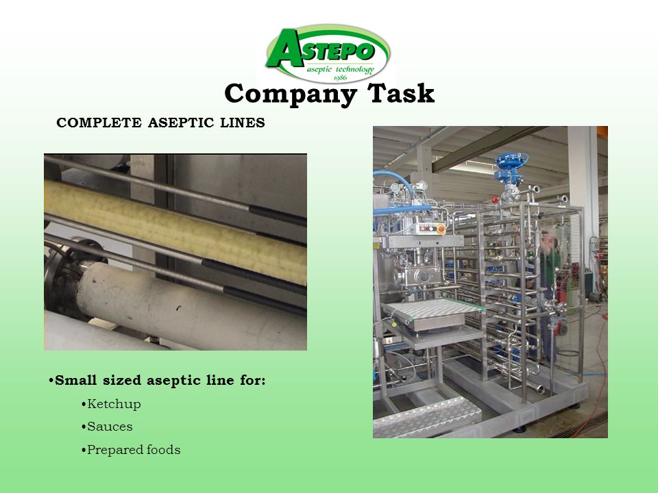 Company Task COMPLETE ASEPTIC LINES Small sized aseptic line for: Ketchup Sauces Prepared foods