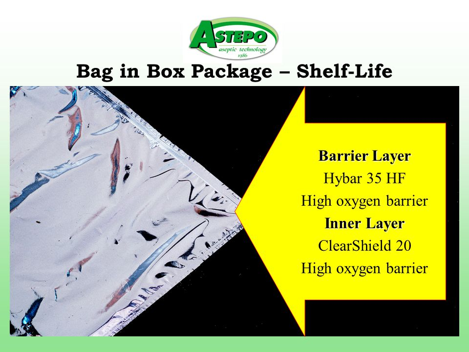 Bag in Box Package – Shelf-Life Barrier Layer Hybar 35 HF High oxygen barrier Inner Layer ClearShield 20 High oxygen barrier