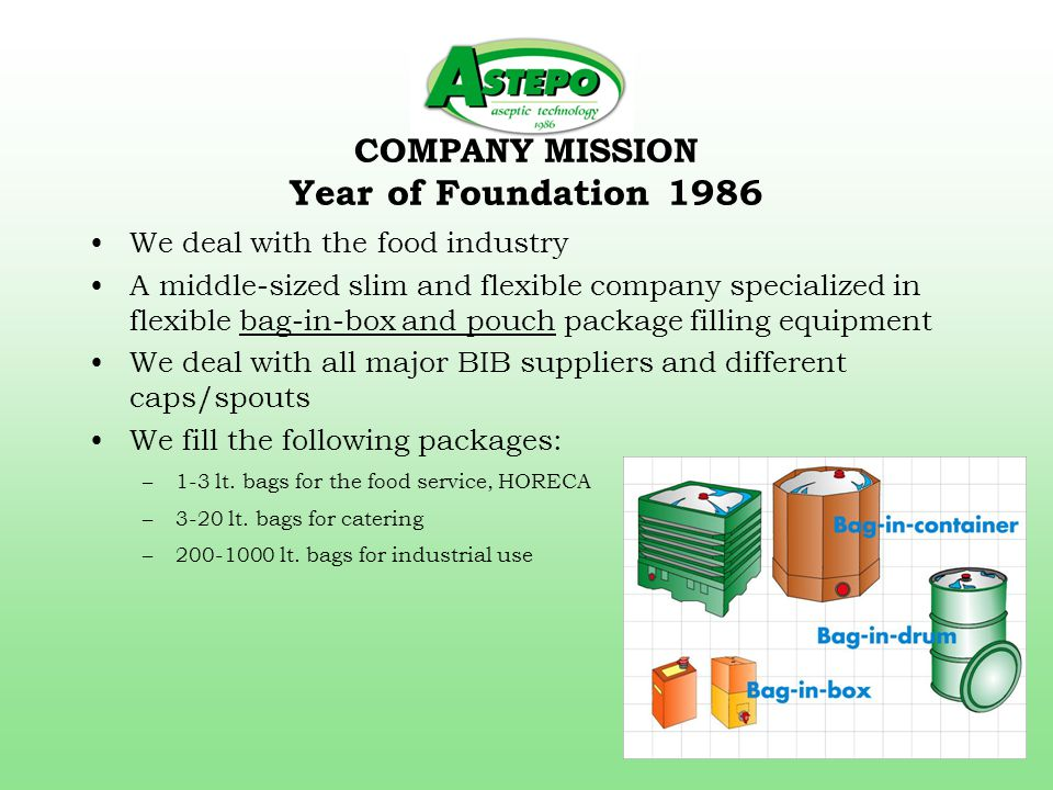 COMPANY MISSION Year of Foundation 1986 We deal with the food industry A middle-sized slim and flexible company specialized in flexible bag-in-box and pouch package filling equipment We deal with all major BIB suppliers and different caps/spouts We fill the following packages: –1-3 lt.