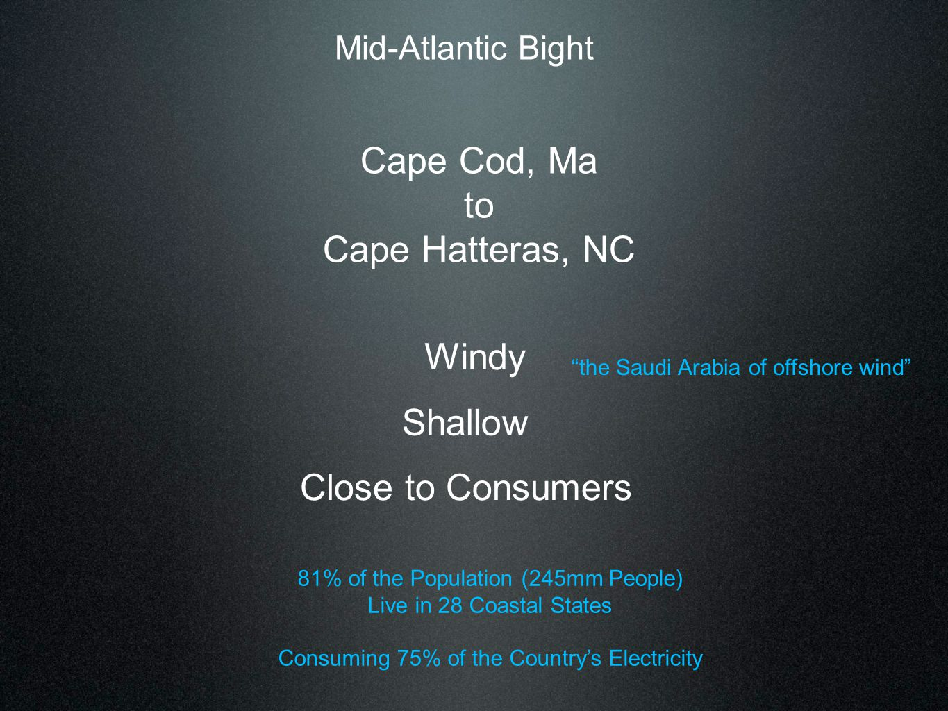 "Mid-Atlantic Bight Cape Cod, Ma to Cape Hatteras, NC Windy Shallow Close to Consumers ""the Saudi Arabia of offshore wind"" 81% of the Population (245mm"