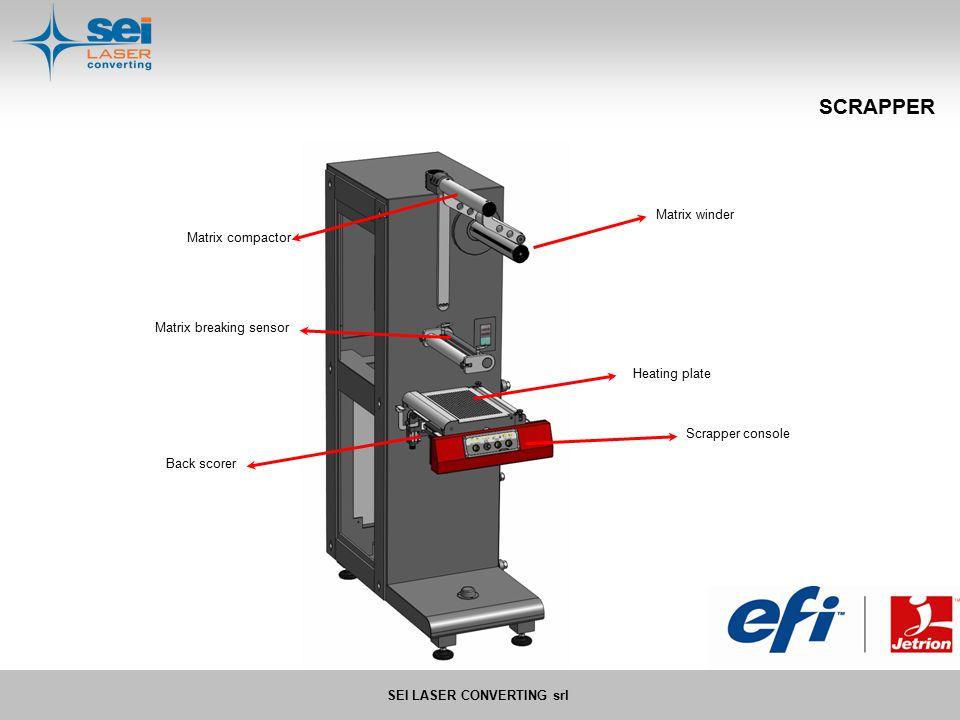 SEI LASER CONVERTING srl SCRAPPER Scrapper console Back scorer Matrix winder Matrix compactor Heating plate Matrix breaking sensor