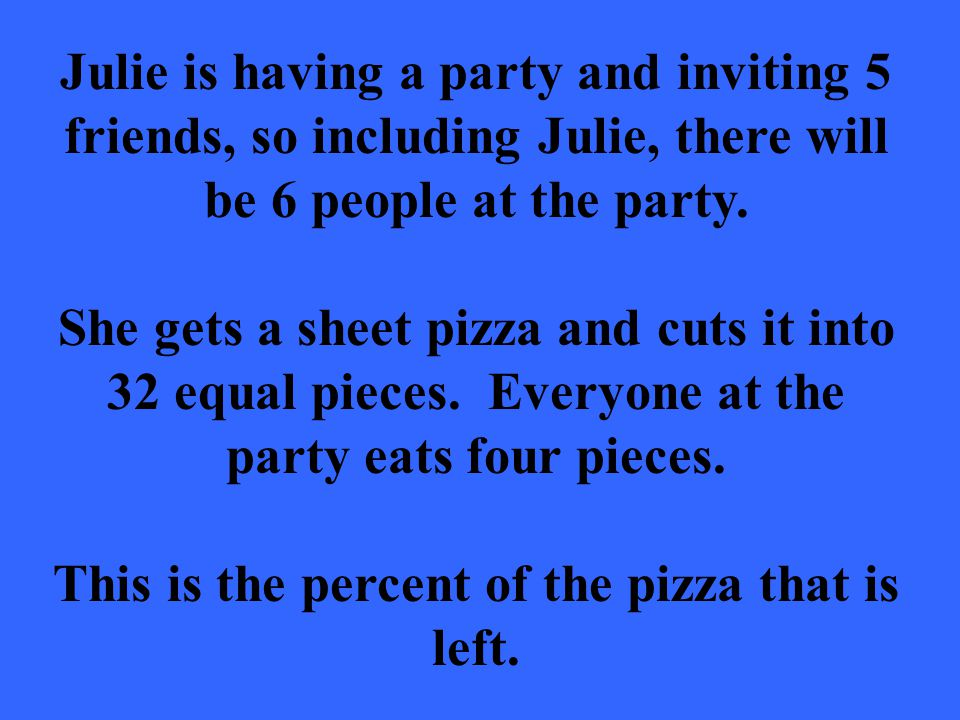 Julie is having a party and inviting 5 friends, so including Julie, there will be 6 people at the party.