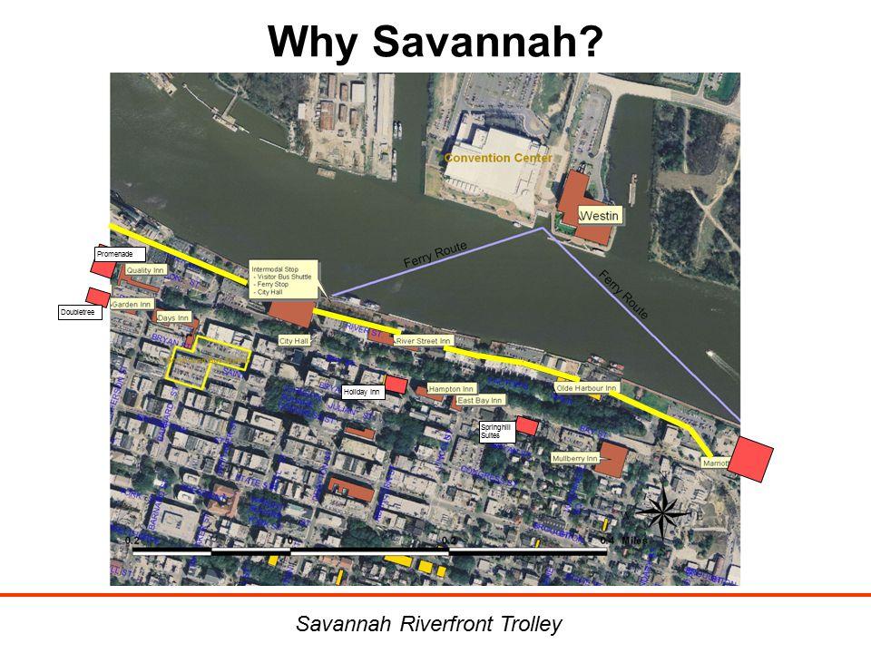 Why Savannah? Savannah Riverfront Trolley Holiday Inn Doubletree Promenade Springhill Suites