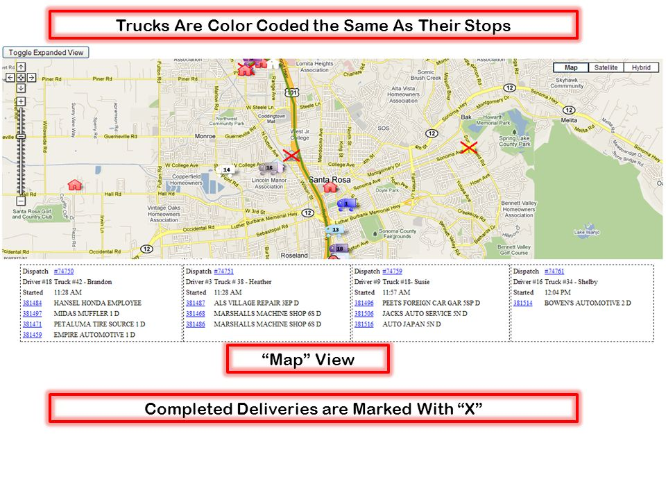 Map View Trucks Are Color Coded the Same As Their Stops Completed Deliveries are Marked With X