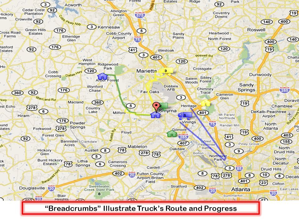 Breadcrumbs Illustrate Truck's Route and Progress