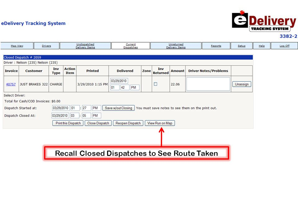 Recall Closed Dispatches to See Route Taken