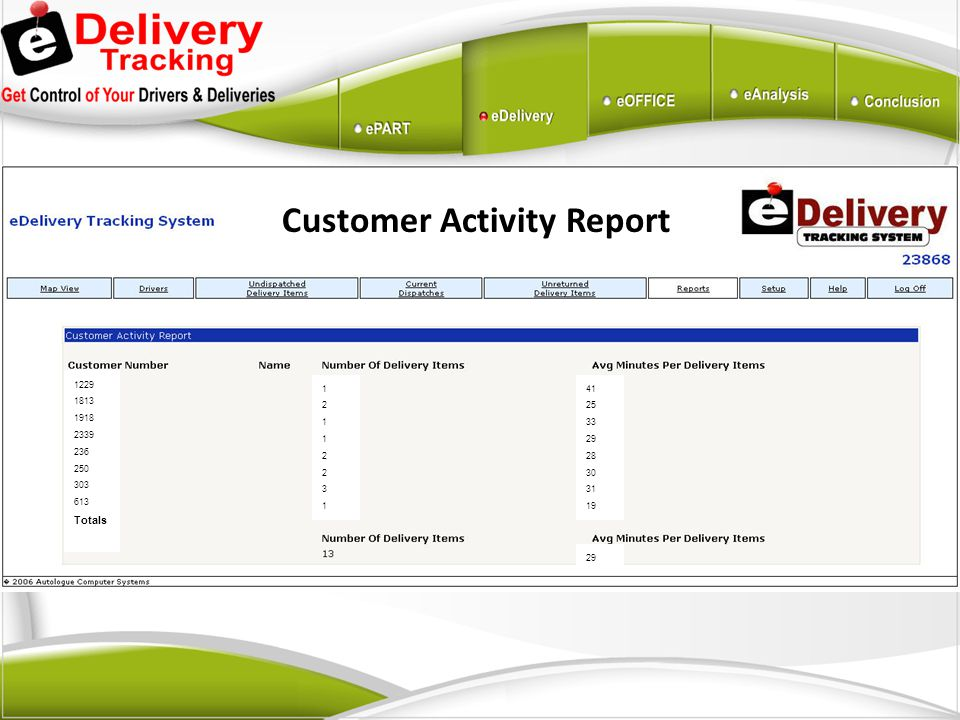 Customer Activity Report 1229 1813 1918 2339 236 250 303 613 Totals 1211223112112231 41 25 33 29 28 30 31 19 29