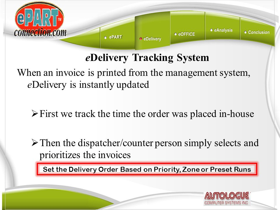 eDelivery Tracking System When an invoice is printed from the management system, eDelivery is instantly updated  First we track the time the order wa