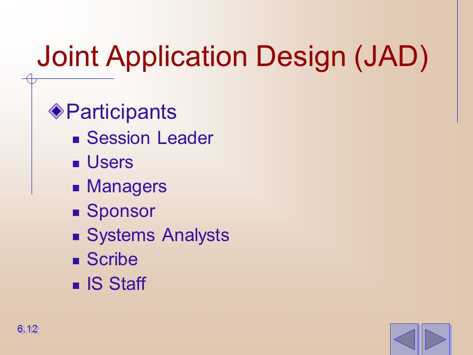 Joint Application Design (JAD) Participants Session Leader Users Managers Sponsor Systems Analysts Scribe IS Staff 6.12