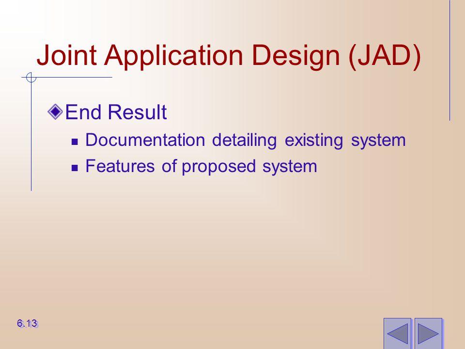 Joint Application Design (JAD) End Result Documentation detailing existing system Features of proposed system 6.13