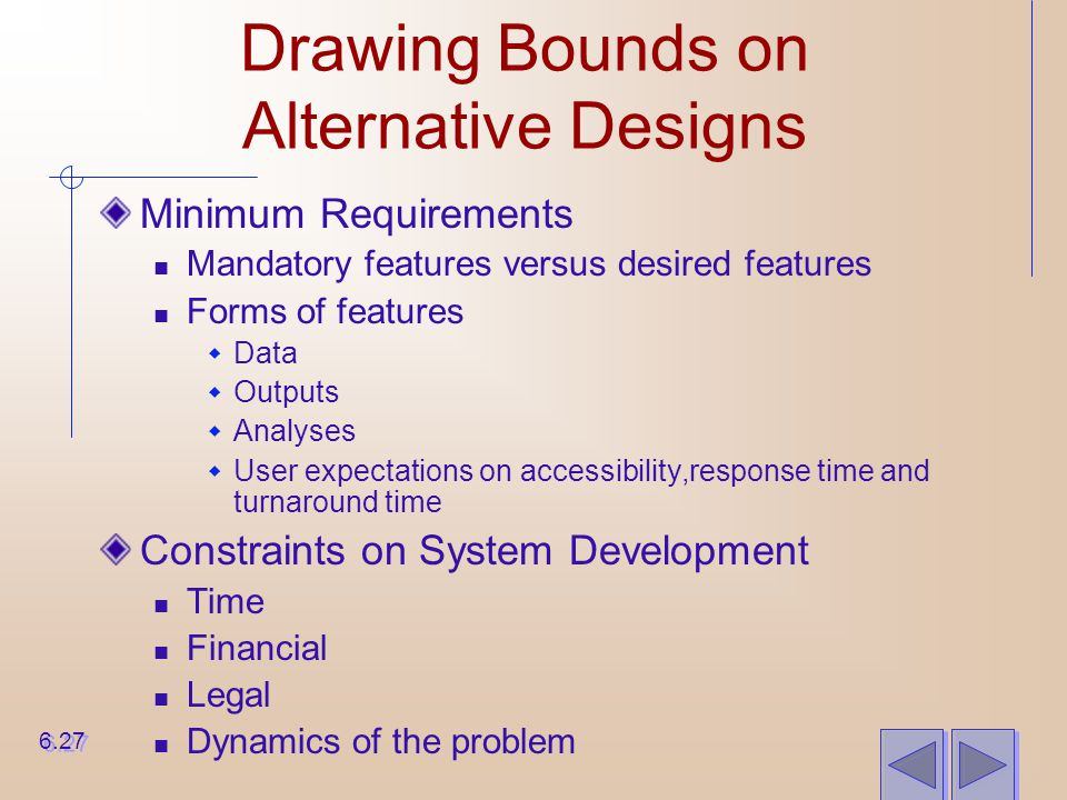 Drawing Bounds on Alternative Designs Minimum Requirements Mandatory features versus desired features Forms of features  Data  Outputs  Analyses 