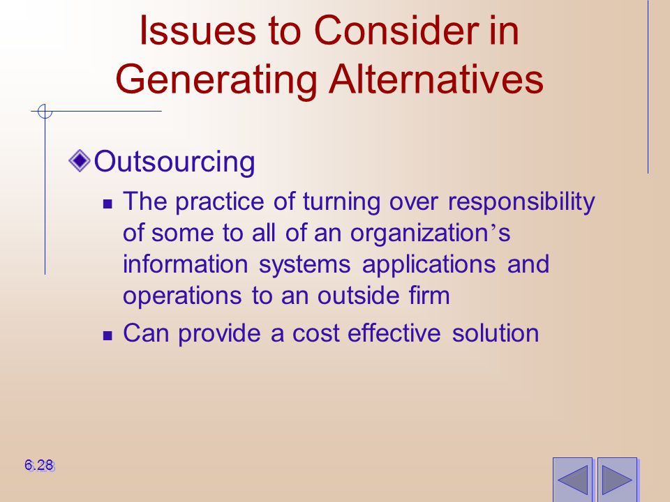 Issues to Consider in Generating Alternatives Outsourcing The practice of turning over responsibility of some to all of an organization ' s informatio
