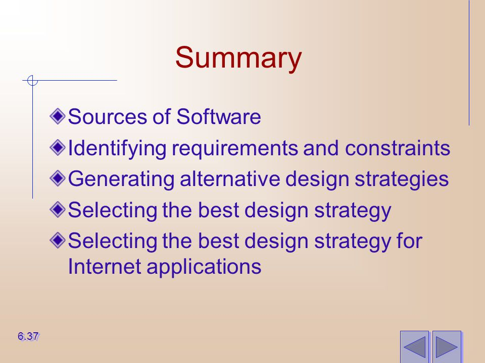 Summary Sources of Software Identifying requirements and constraints Generating alternative design strategies Selecting the best design strategy Selec