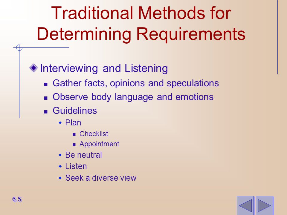 Traditional Methods for Determining Requirements Interviewing and Listening Gather facts, opinions and speculations Observe body language and emotions