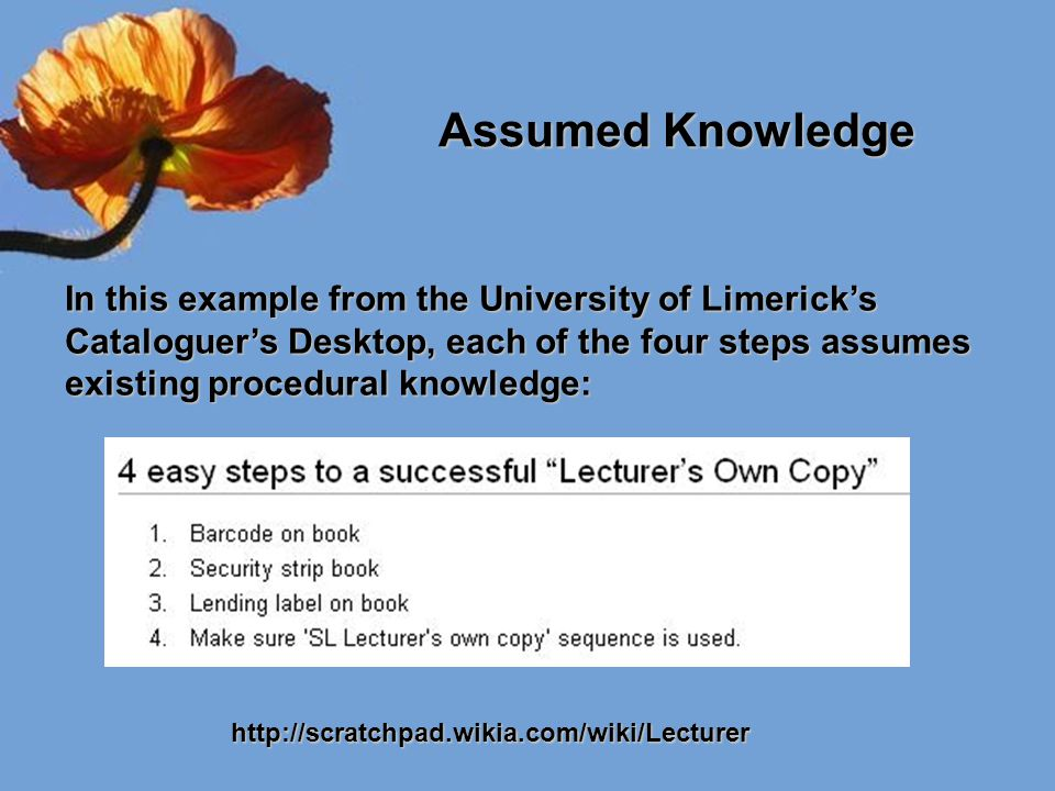 Assumed Knowledge Assumed Knowledge In this example from the University of Limerick's Cataloguer's Desktop, each of the four steps assumes existing pr