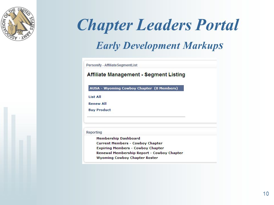 Chapter Leaders Portal 10 Early Development Markup s