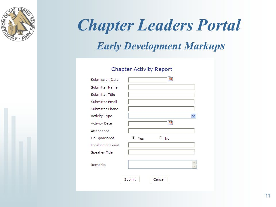 Chapter Leaders Portal 11 Early Development Markup s