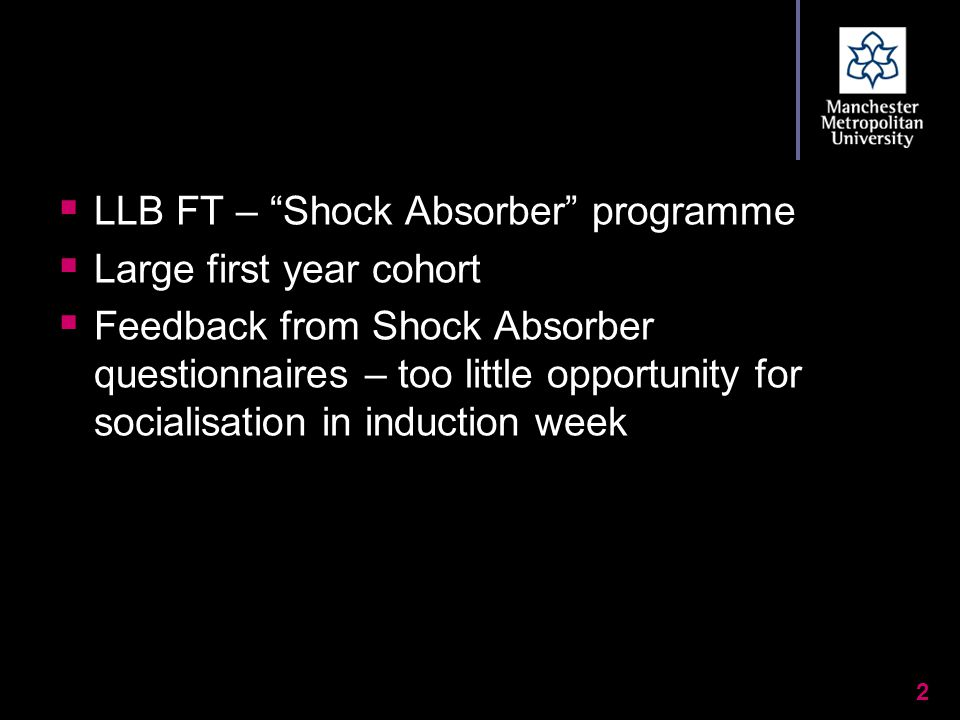 " LLB FT – ""Shock Absorber"" programme  Large first year cohort  Feedback from Shock Absorber questionnaires – too little opportunity for socialisati"