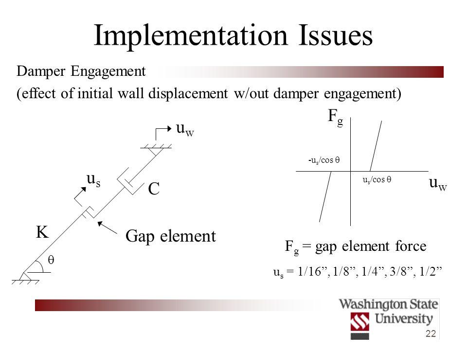 22 Damper Engagement (effect of initial wall displacement w/out damper engagement) Implementation Issues FgFg uwuw u s /cos   Gap element uwuw usus u s = 1/16 , 1/8 , 1/4 , 3/8 , 1/2 -u s /cos  C K F g = gap element force