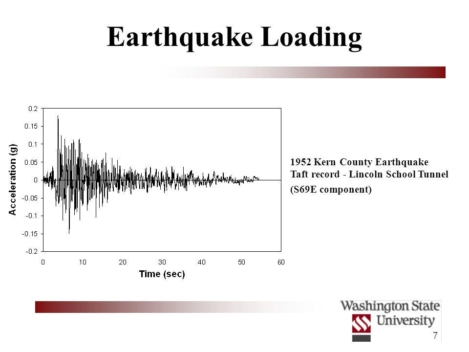 7 Earthquake Loading 1952 Kern County Earthquake Taft record - Lincoln School Tunnel (S69E component)