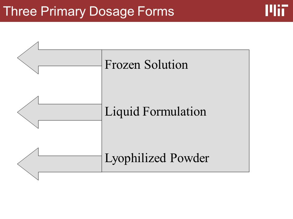 Three Primary Dosage Forms Frozen Solution Liquid Formulation Lyophilized Powder