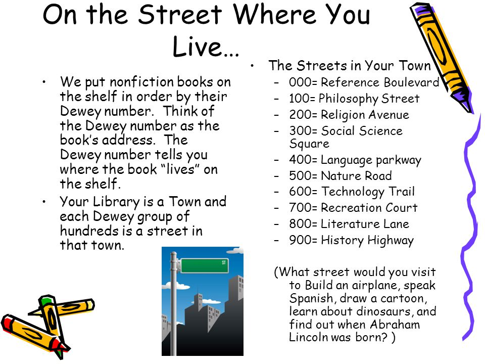 On the Street Where You Live… We put nonfiction books on the shelf in order by their Dewey number. Think of the Dewey number as the book's address. Th